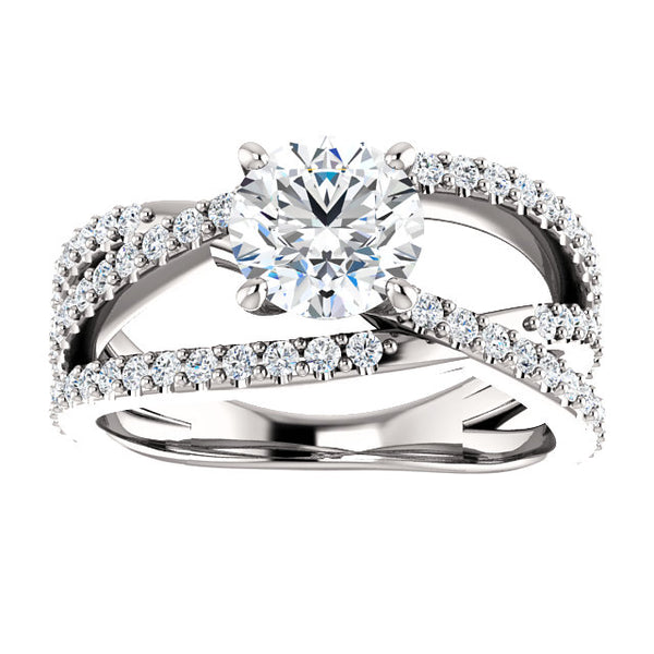 Round Cut Crisscross Engagement Ring - Michael E. Minden Diamond Jewelers