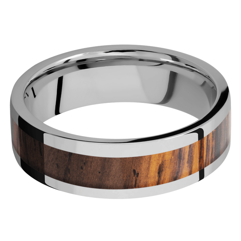 Titanium Men's Wedding Ring with a Cocobolo Inlay - Michael E. Minden Diamond Jewelers