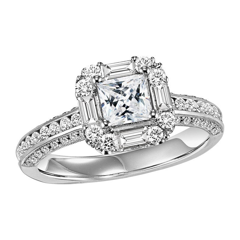 Princess Cut Unique Emerald & Round Halo Engagement Ring - Michael E. Minden Diamond Jewelers