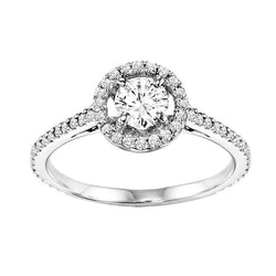 Floating Round Halo Style Engagement Ring - Michael E. Minden Diamond Jewelers