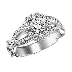 Floral Inspired Halo Twisted Set Engagement Ring - Michael E. Minden Diamond Jewelers