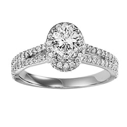 Oval Halo Double Shank Engagement Ring - Michael E. Minden Diamond Jewelers