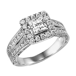 Princess Cut Halo Detailed Milgrain Engagement Ring - Michael E. Minden Diamond Jewelers