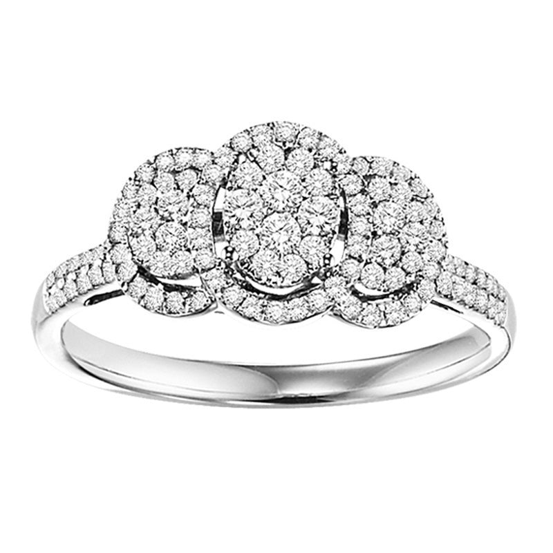 Cluster Three-Stone Inspired Engagement Ring - Michael E. Minden Diamond Jewelers