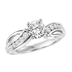 Round Curved Channel Set Engagement Ring - Michael E. Minden Diamond Jewelers
