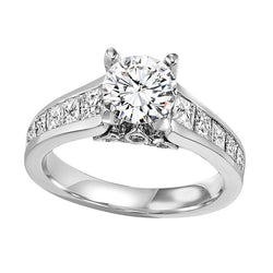 Round with Princess Cut Setting Engagement Ring - Michael E. Minden Diamond Jewelers