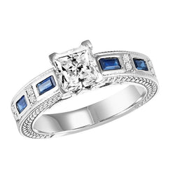 Princess Cut Sapphire Detail Engagement Ring - Michael E. Minden Diamond Jewelers