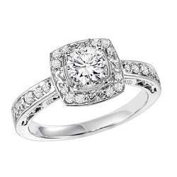 Round Cut Square Halo Engagement Ring - Michael E. Minden Diamond Jewelers