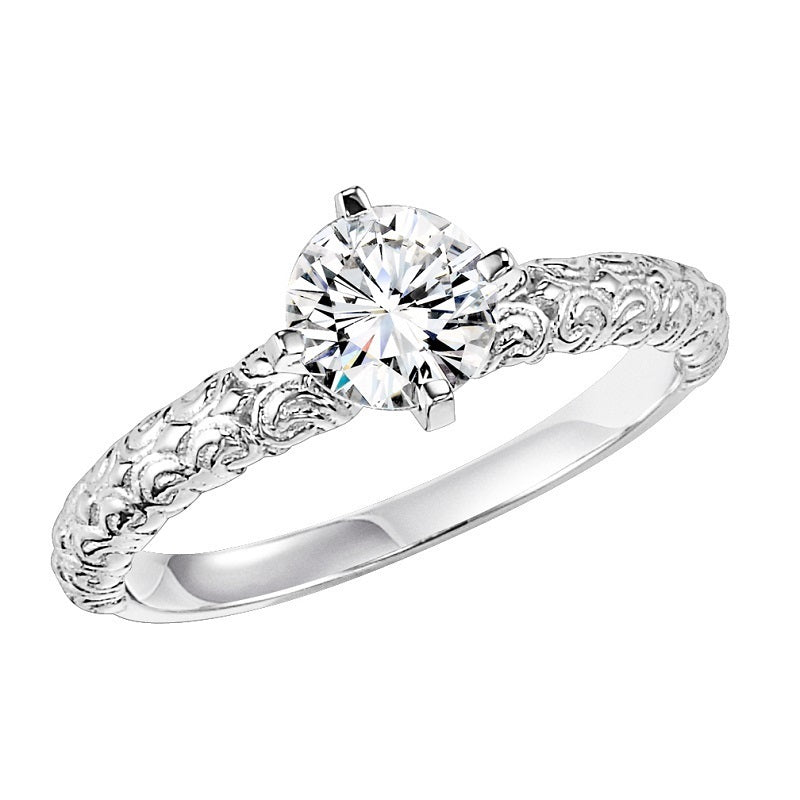 Round Detailed Solitaire Engagement Ring - Michael E. Minden Diamond Jewelers