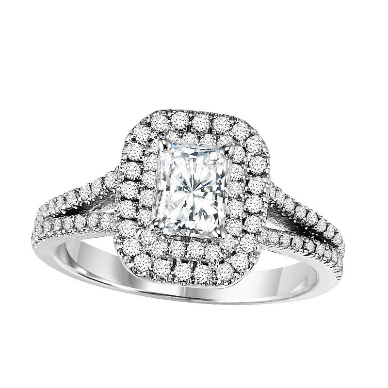 Radiant Cut Double Halo Split Shank Engagement Ring - Michael E. Minden Diamond Jewelers