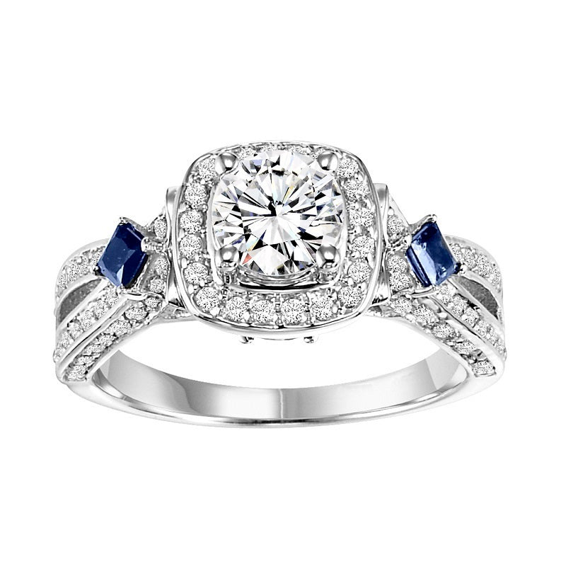 Round Halo with Sapphire Detail Engagement Ring - Michael E. Minden Diamond Jewelers