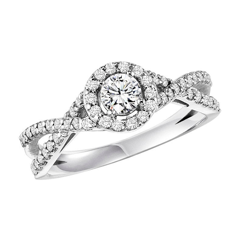 Round Halo Twisted Engagement Ring - Michael E. Minden Diamond Jewelers