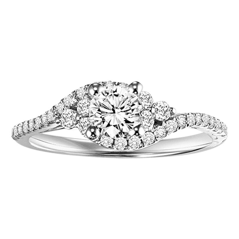 Round Wrapped Halo Engagement Ring - Michael E. Minden Diamond Jewelers