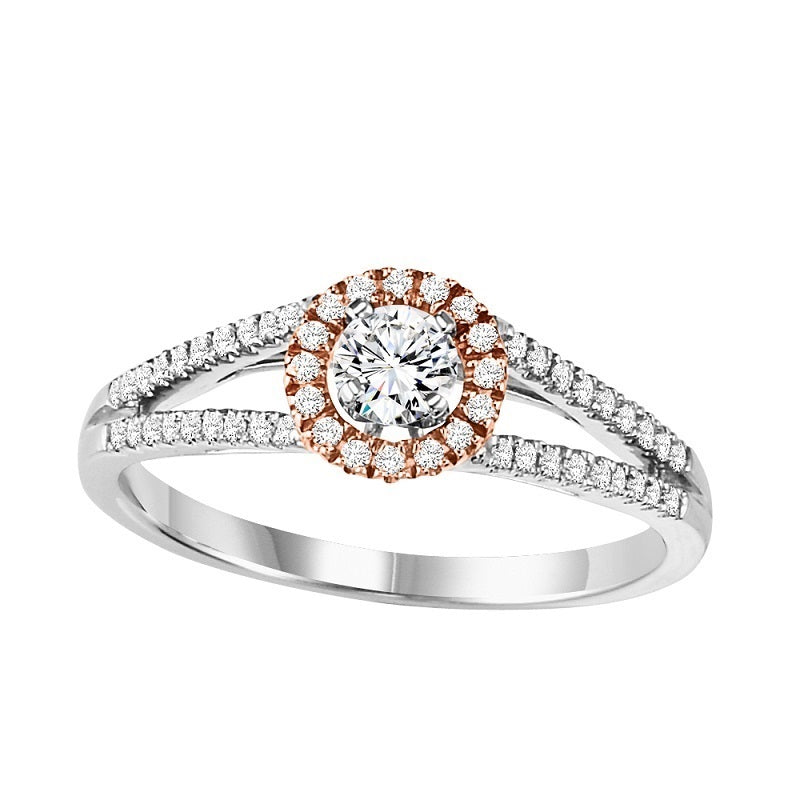 Round Two-Tone Halo Engagement Ring - Michael E. Minden Diamond Jewelers