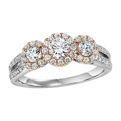 Two-Tone Three-Stone Halo Engagement Ring - Michael E. Minden Diamond Jewelers