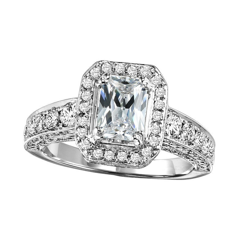 Radiant Cut Halo Engagement Ring - Michael E. Minden Diamond Jewelers