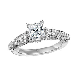 Princess Cut Larger Stone Semi-Mount Engagement Ring - Michael E. Minden Diamond Jewelers