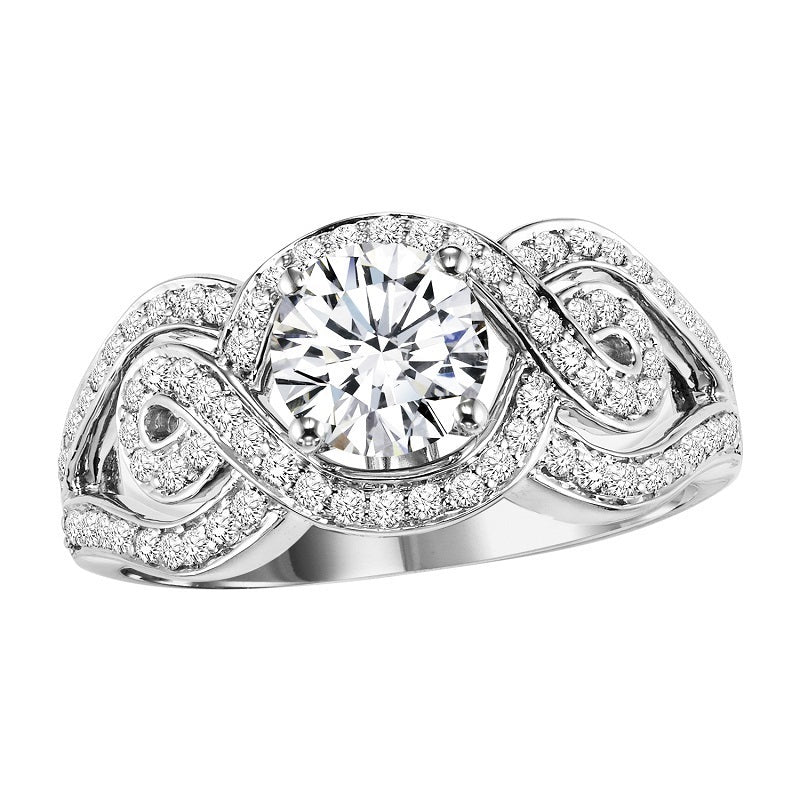 Round Swirled Halo Engagement Ring - Michael E. Minden Diamond Jewelers