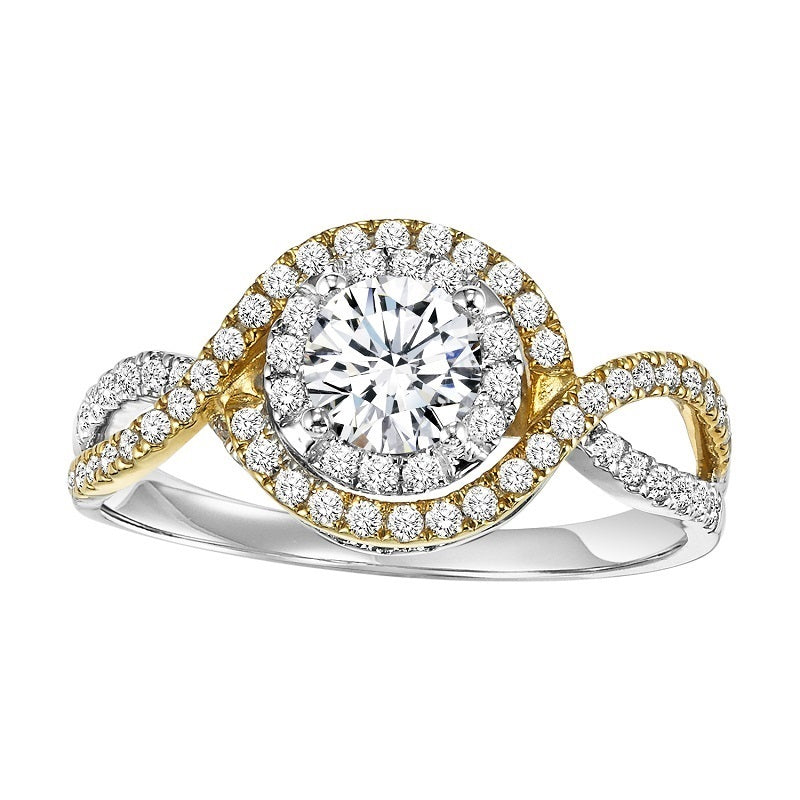 Two-Tone Wrapped Halo Engagement Ring - Michael E. Minden Diamond Jewelers