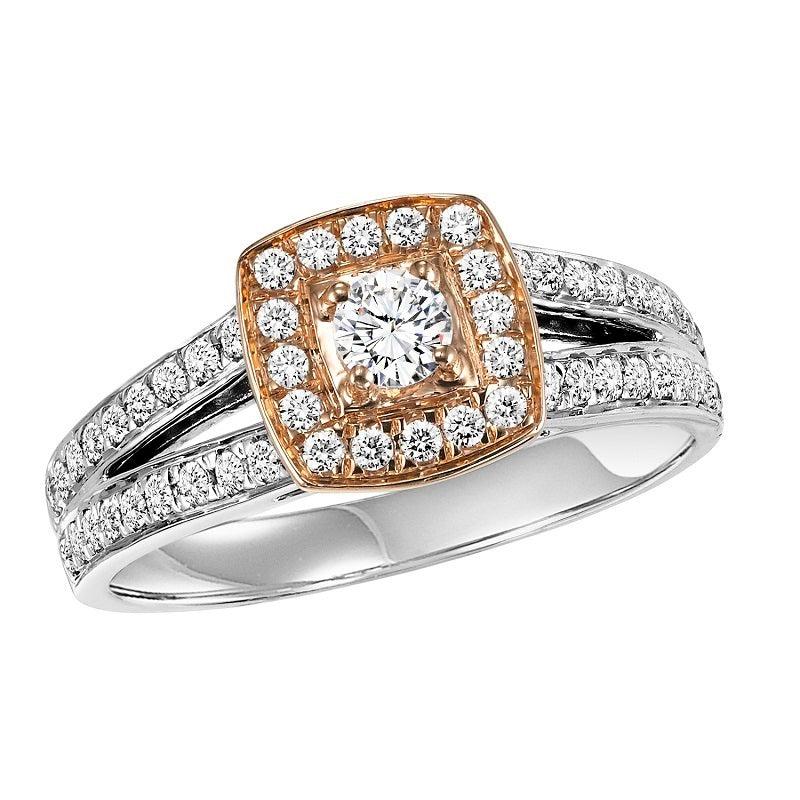 Round Cut Two-Tone Square Halo Engagement Ring - Michael E. Minden Diamond Jewelers