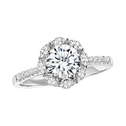 Round Intricate Halo Engagement Ring - Michael E. Minden Diamond Jewelers