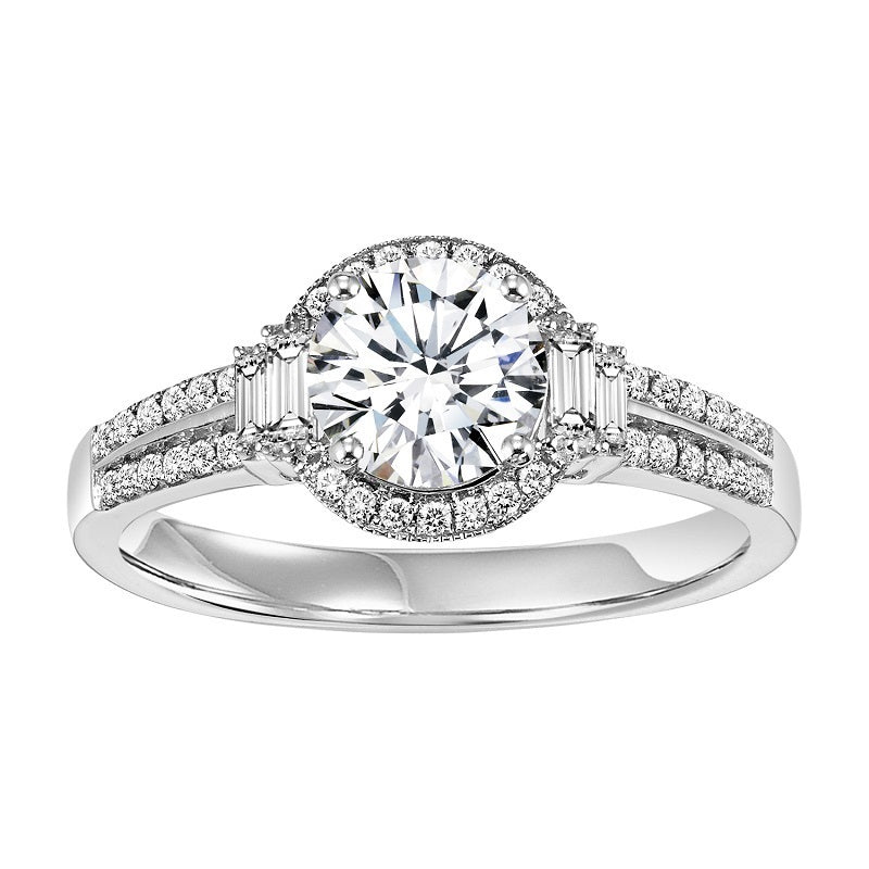 Round Halo Emerald Side Detail Engagement Ring - Michael E. Minden Diamond Jewelers
