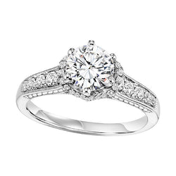 Vintage Inspired Round Semi-Mount Engagement Ring - Michael E. Minden Diamond Jewelers