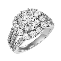 Cluster Three Row Engagement Ring - Michael E. Minden Diamond Jewelers