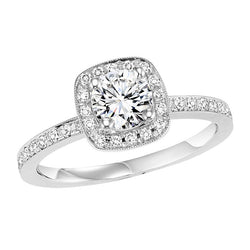 Round with Square Halo Engagement Ring - Michael E. Minden Diamond Jewelers