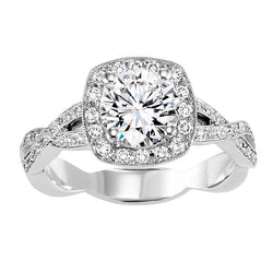 Round Cut with Square Halo Twisted Engagement Ring - Michael E. Minden Diamond Jewelers