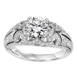 Round Vintage Inspired Swirl Engagement Ring - Michael E. Minden Diamond Jewelers