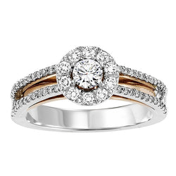 Round Halo Two-Tone UnderGallery Engagement Ring - Michael E. Minden Diamond Jewelers