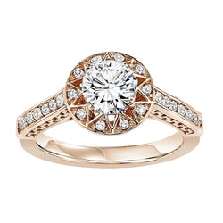 Rose Gold Round Halo Star Inspired Engagement Ring - Michael E. Minden Diamond Jewelers