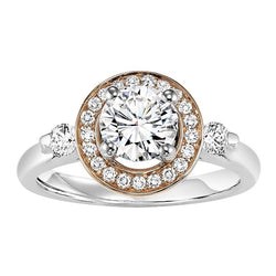 Two-Tone Round Halo Engagement Ring - Michael E. Minden Diamond Jewelers
