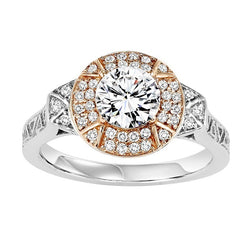 Two-Tone Round Halo Side Detail Engagement Ring - Michael E. Minden Diamond Jewelers