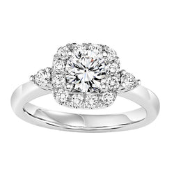 Round Cut Square Halo with Side Detail Engagement Ring - Michael E. Minden Diamond Jewelers