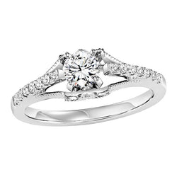 Floating Round Semi-Mount Engagement Ring - Michael E. Minden Diamond Jewelers