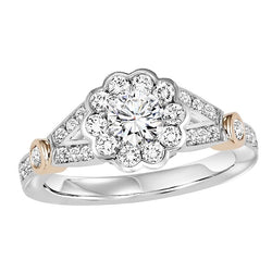 Round Floral Inspired Halo Two-Tone Engagement Ring - Michael E. Minden Diamond Jewelers