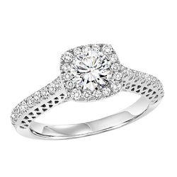 Round Square Halo Engagement Ring - Michael E. Minden Diamond Jewelers