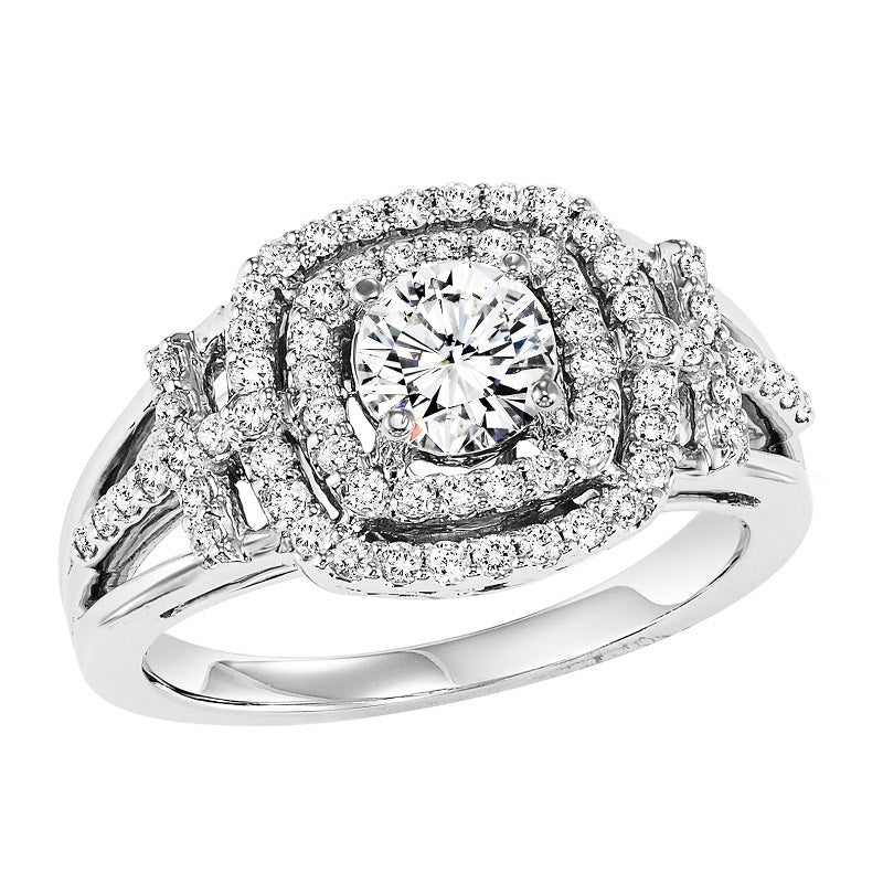 Double Halo Intricate Detail Set Engagement Ring - Michael E. Minden Diamond Jewelers