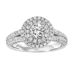 Round Double Halo Split Shank Engagement Ring - Michael E. Minden Diamond Jewelers