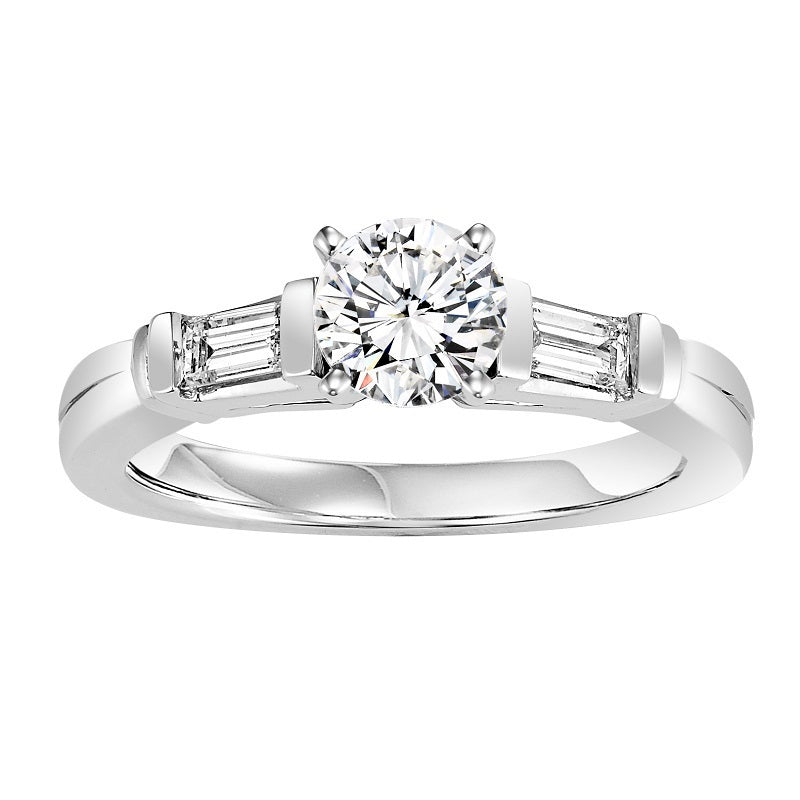 Round Cut with Emerald Side Detail Engagement Ring - Michael E. Minden Diamond Jewelers