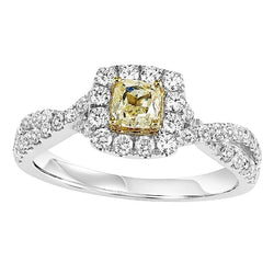Colored Stone Square Halo Engagement Ring - Michael E. Minden Diamond Jewelers