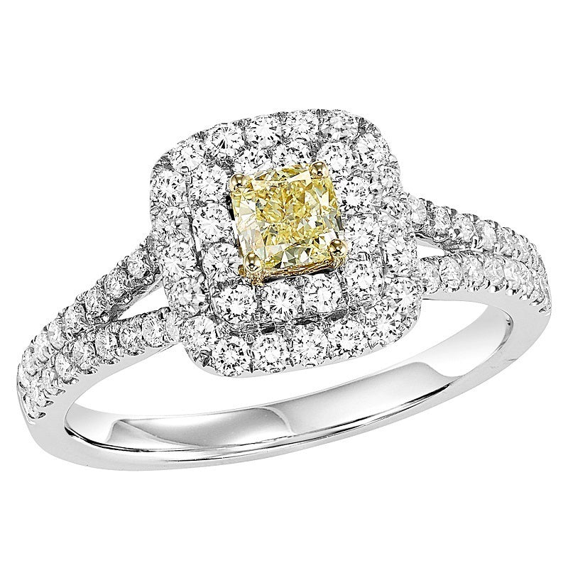 Colored Stone Double Square Halo Engagement Ring - Michael E. Minden Diamond Jewelers