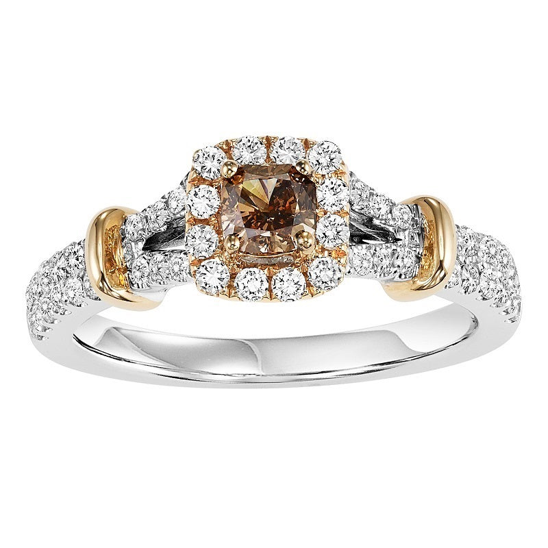 Colored Stone Tri-Tone Halo Engagement Ring - Michael E. Minden Diamond Jewelers