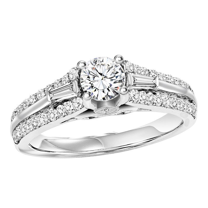 Round Cut with Emerald Detailed Shank Engagement Ring - Michael E. Minden Diamond Jewelers