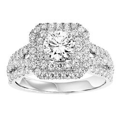 Round with Square Halo Inner Twisted Engagement Ring - Michael E. Minden Diamond Jewelers