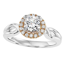 Two-Tone Halo Twisted Engagement Ring - Michael E. Minden Diamond Jewelers