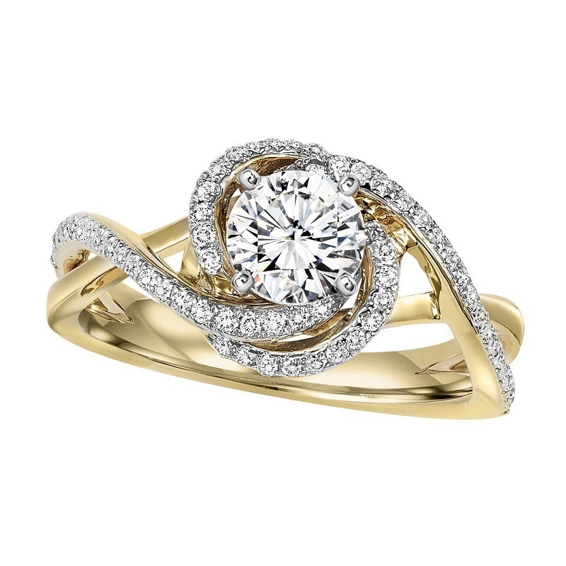 Round Two-Tone Wrapped Freeform Engagement Ring - Michael E. Minden Diamond Jewelers