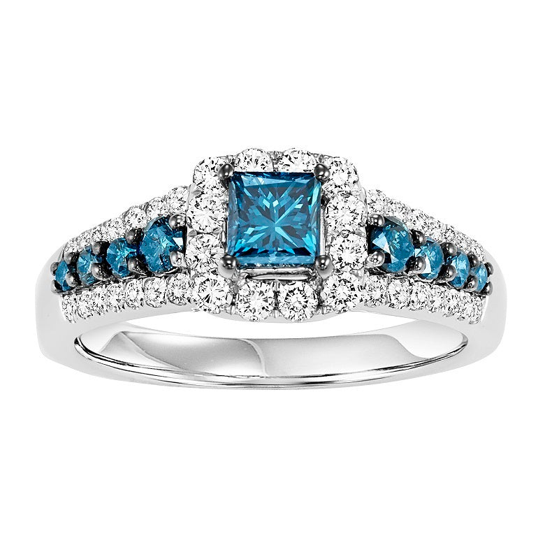 Colored Stone Princess Cut Halo Engagement Ring - Michael E. Minden Diamond Jewelers